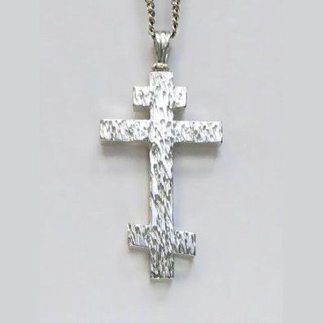 ロシア正教のクロス 木肌光沢仕上げの小さなロシア十字架 rc04bの画像1枚目