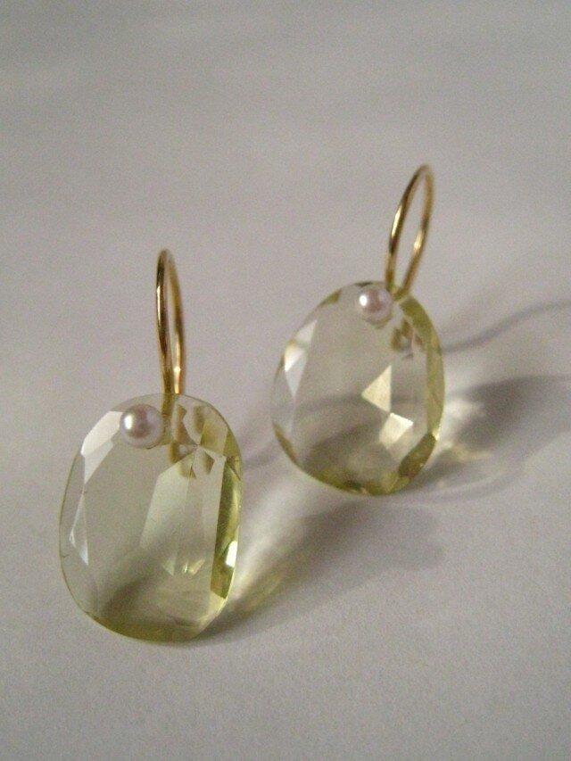 K18   Lemon quartz  ピアスの画像1枚目