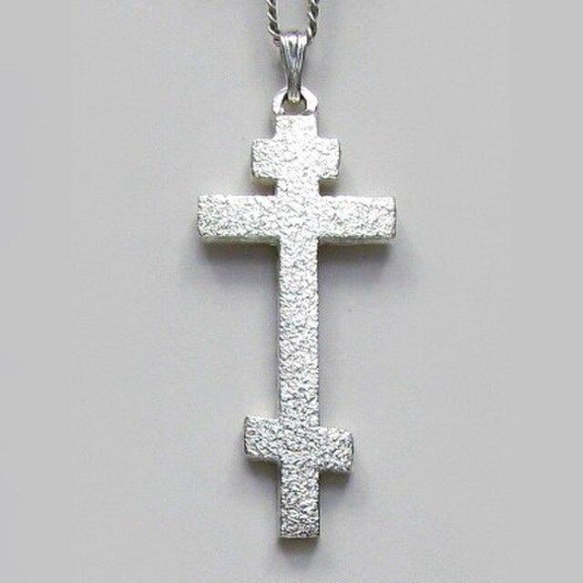 ロシア正教のクロス 梨地光沢仕上げの縦長のロシア十字架 rc23 好評ですの画像1枚目