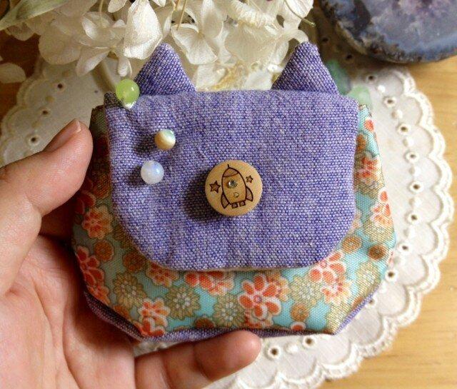 ネコ耳!宇宙猫のコインケース・ミニポーチの画像1枚目