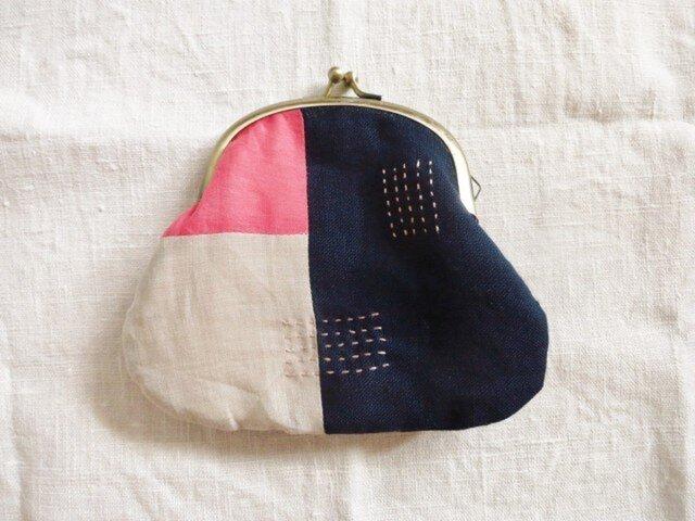 がま口ポーチ pink&dark blueの画像1枚目