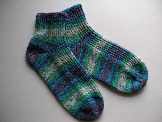 春夏用手編み靴下【メキシコ・コットン・ストレッチ南太平洋】の画像1枚目