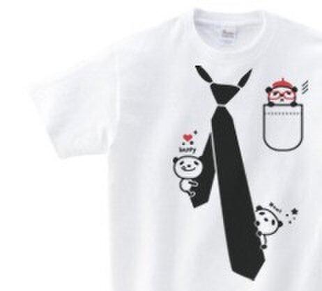 だまし絵 パンダ&ネクタイ 100~140(キッズ)  Tシャツ【受注生産品】の画像1枚目