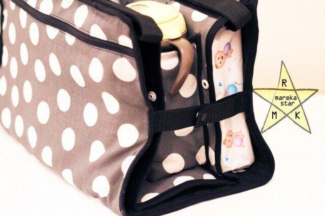 【売約済M様】№80.ベビーカーバック☆グレー×白水玉の画像1枚目