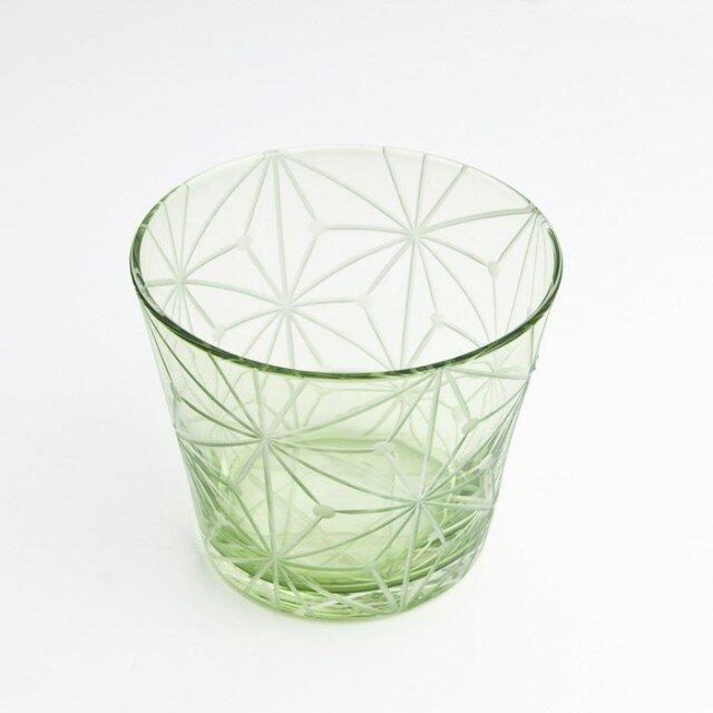 東京切子(花切子)グラス 千代紙 グリーンの画像1枚目