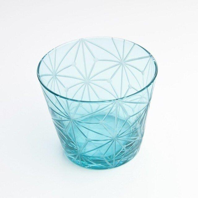東京切子(花切子)グラス 千代紙 空色の画像1枚目