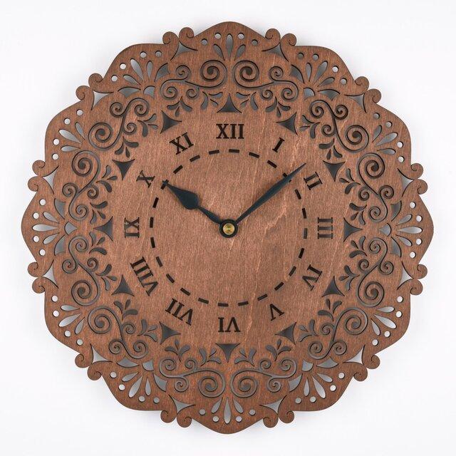 木の壁掛け時計C 唐草(木製ウォールクロック)の画像1枚目