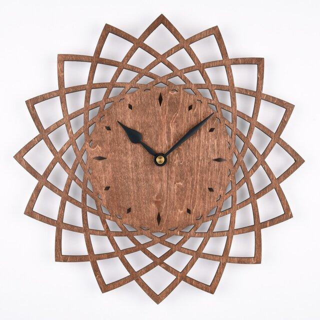木の壁掛け時計A ダリア(木製ウォールクロック)の画像1枚目