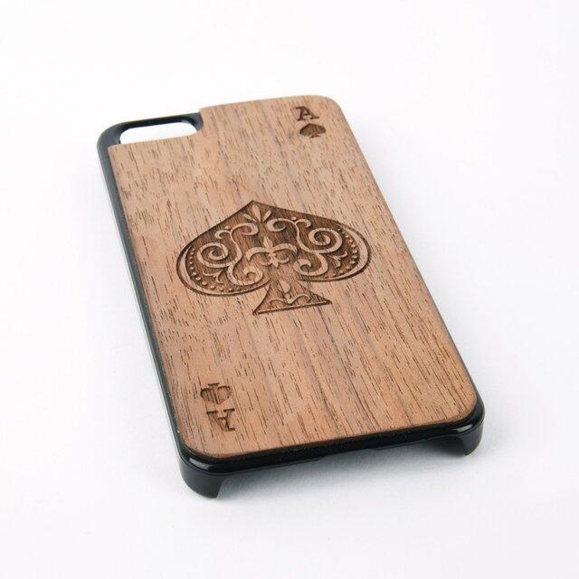 木彫りのスマホカバー スペードのエース(iPhone SE 専用)Walnut Smart Phone Coverの画像1枚目
