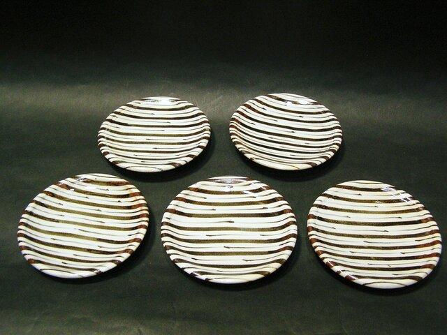 絵粉引銘々皿5枚組(ストライプ)の画像1枚目