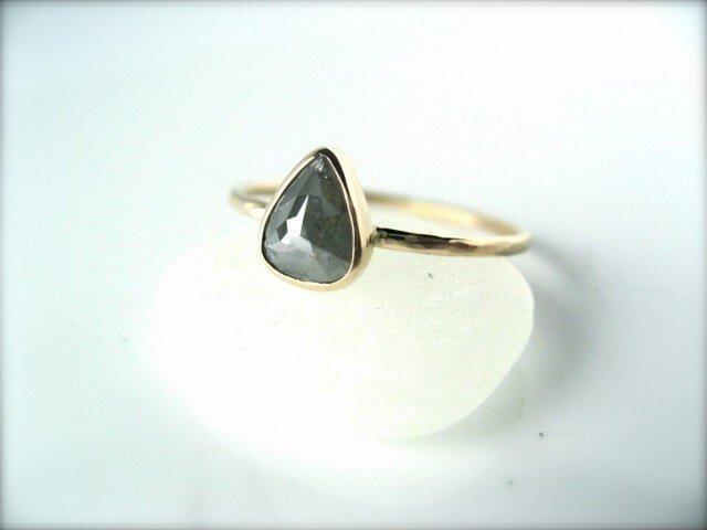 アイスグレーしずくダイヤモンドリング14kの画像1枚目