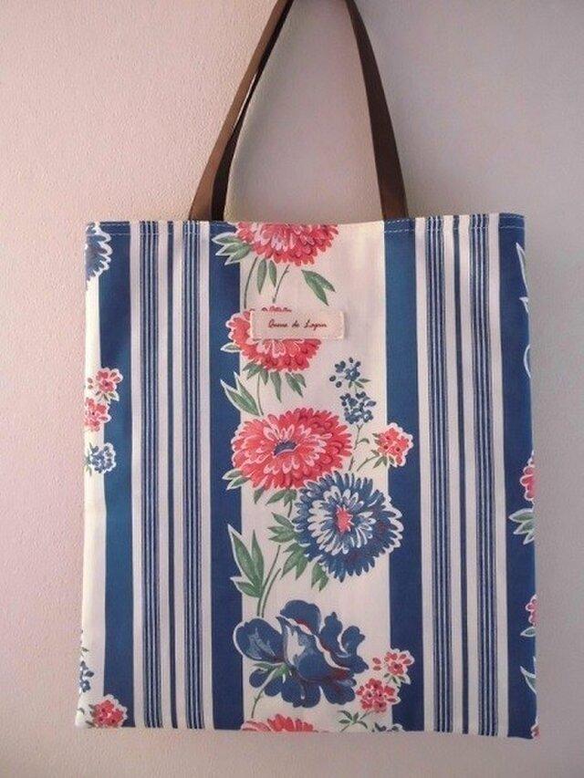 花柄ストライプのぺたんこバッグの画像1枚目