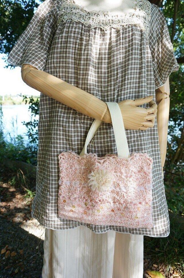 かぎ針編みの華やかバッグ(ピンク)の画像1枚目