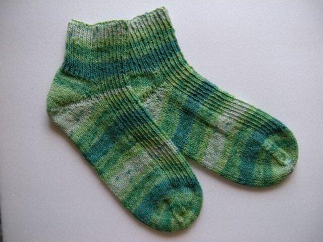春夏用手編み靴下【メキシコ・コットン・ストレッチ  草】の画像1枚目