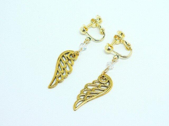 天使の羽のパーツとスワロフスキーのイヤリングの画像1枚目