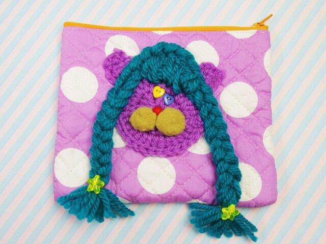 三つ編みねこちゃんポーチの画像1枚目