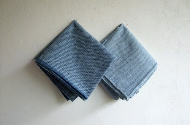 indigo 手紡ぎ手織り ハンカチ2枚セット Lの画像1枚目