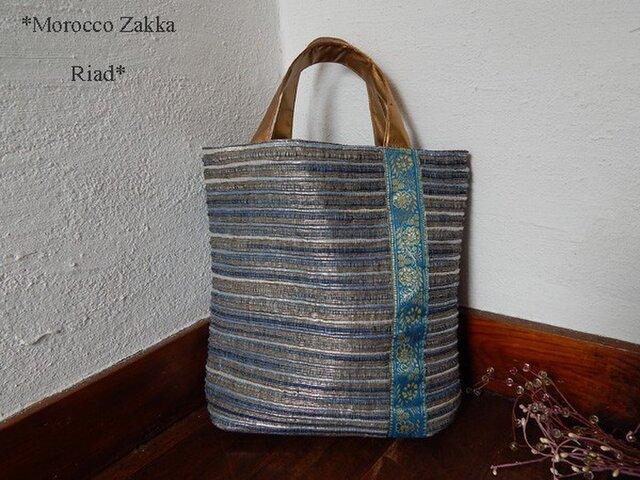 ネパール手織りトートバッグ ミズイロの画像1枚目
