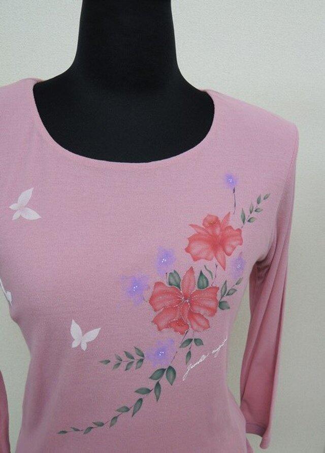 西陣手描き七分袖Tシャツ◇ピンクの画像1枚目