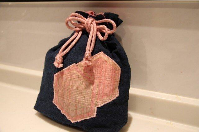 古布と紬 巾着の画像1枚目