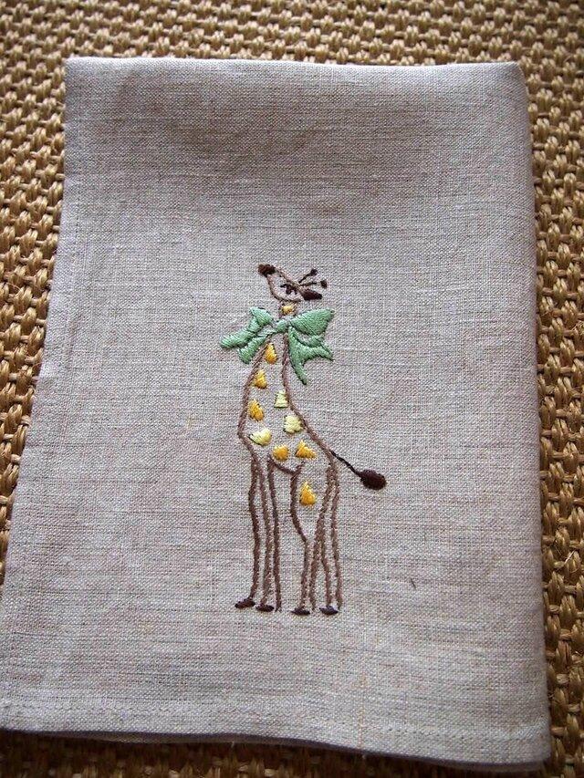 キリンの刺繍のリネン・クロスの画像1枚目