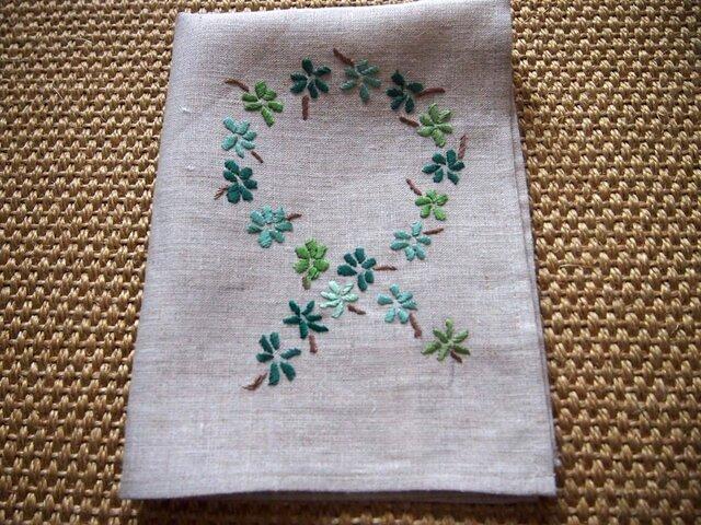 緑色の小花デザイン 刺繍のリネン・クロスの画像1枚目