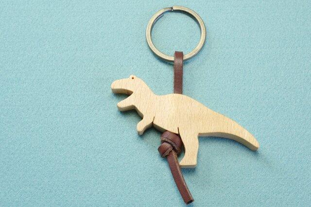 ティラノサウルス / 恐竜 木のキーリングの画像1枚目