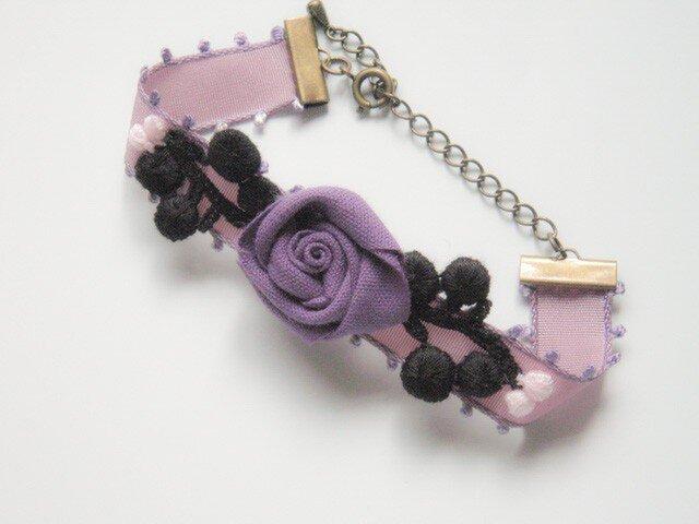 New ピコットリボン 紫&黒 ブレスレットの画像1枚目