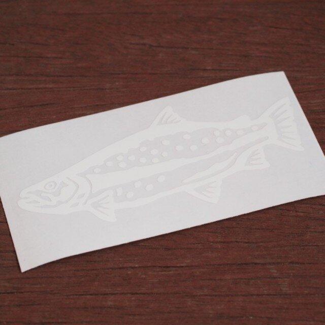 切り絵ステッカー レインボートラウト(白)の画像1枚目