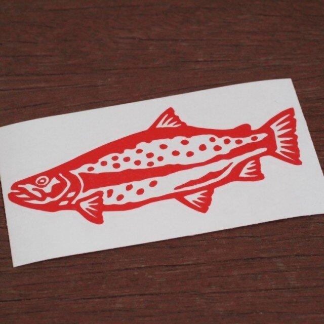 切り絵ステッカー レインボートラウト(赤)の画像1枚目