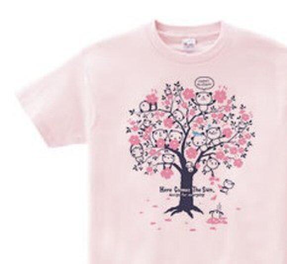 チェリーブロッサム・パンダ WS~WM•S~XL  Tシャツ【受注生産品】の画像1枚目