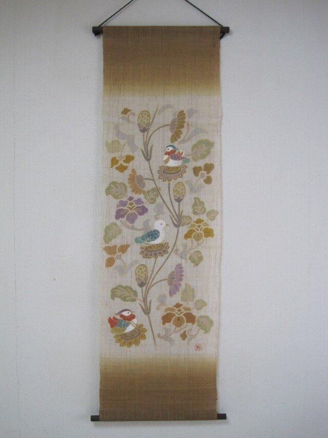 更紗にオシドリ 手描き タペストリーの画像1枚目