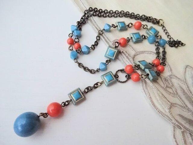 ブルー&オレンジ Y字ネックレスの画像1枚目