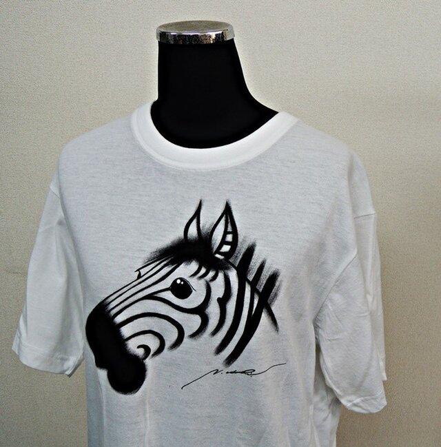 西陣手描きTシャツ◇シマウマの画像1枚目