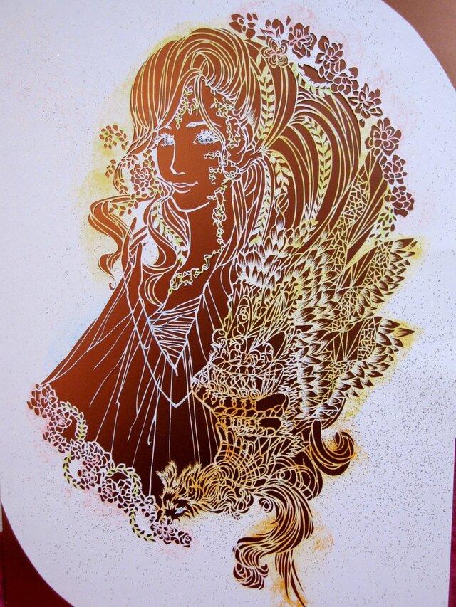 世界に一つだけのアゲ嬢の切り絵アートです。の画像1枚目