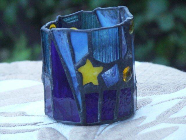ステンドグラス キャンドルホルダー 流れ星の画像1枚目