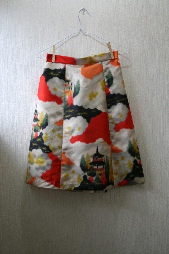 絹 銘仙 五重塔 ゴムスカート SMサイズ の画像1枚目