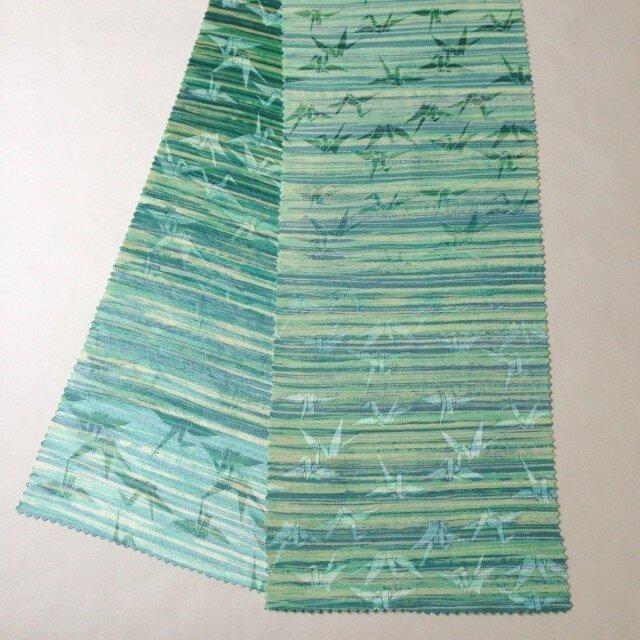 蝋しけ引き絹半衿(薄緑折鶴)の画像1枚目