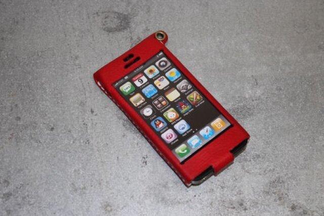 Iphone5用レザーケース アカの画像1枚目