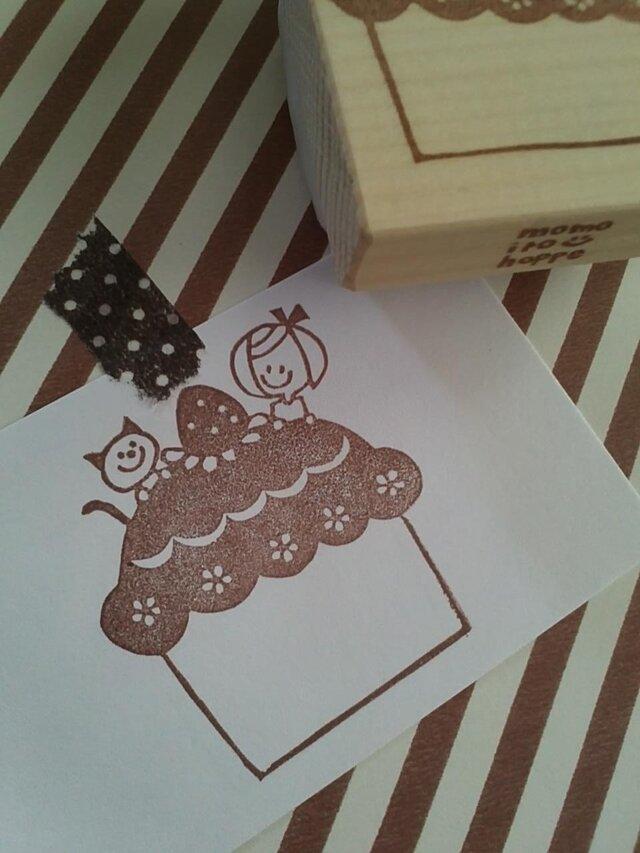 消しゴムはんこ 大きなケーキ*の画像1枚目