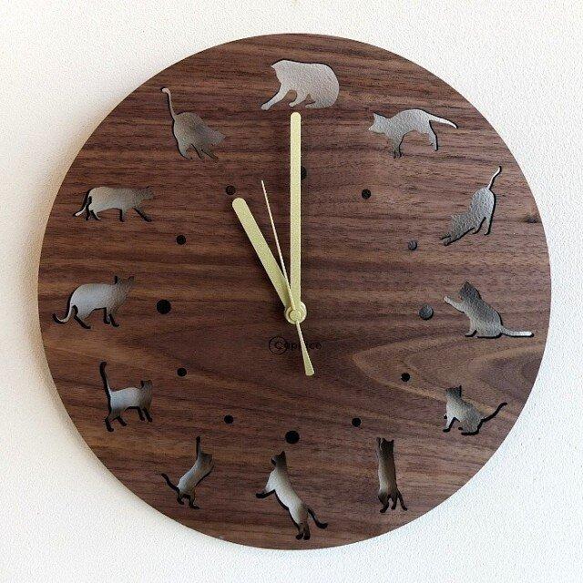 壁掛時計 CAT(ウォールナット)の画像1枚目