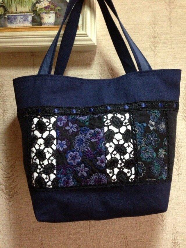 PJC花刺繍帆布バッグの画像1枚目