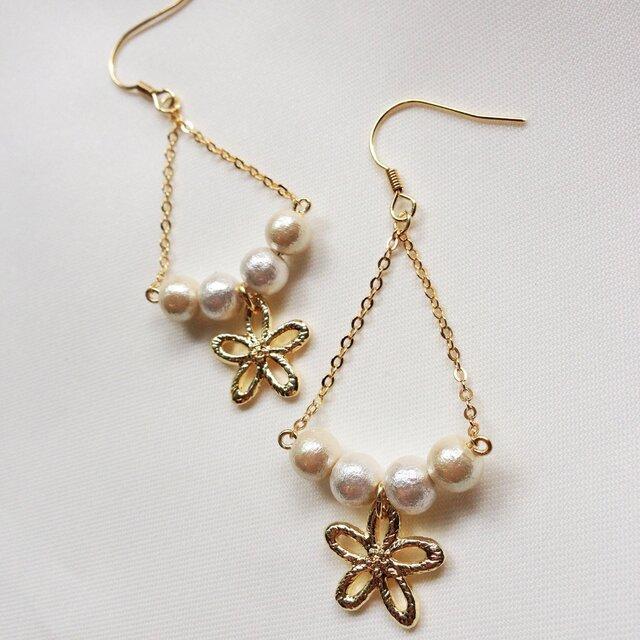 Cotton Parl♡お花ピアスの画像1枚目