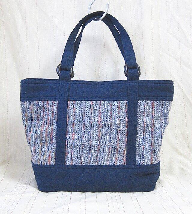 裂き織り トートバッグ(青)の画像1枚目
