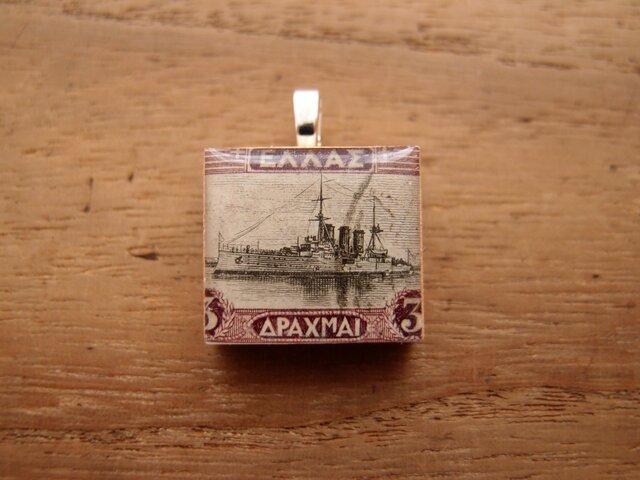 ギリシャの切手を使ったスクラブルタイルペンダントの画像1枚目