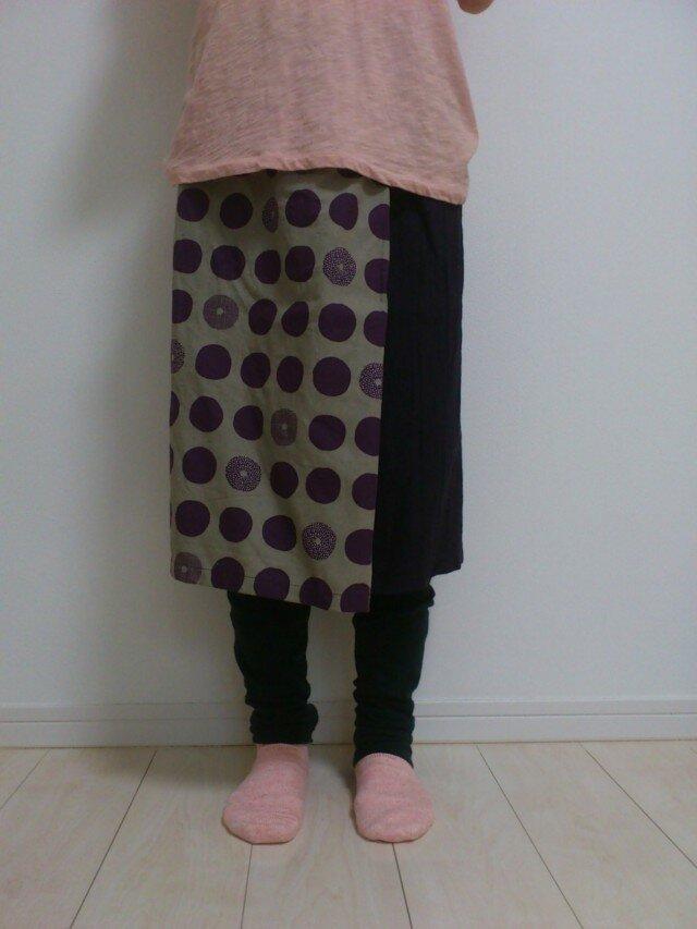 綿麻タックスカート(パープルドット×濃パープル)001の画像1枚目