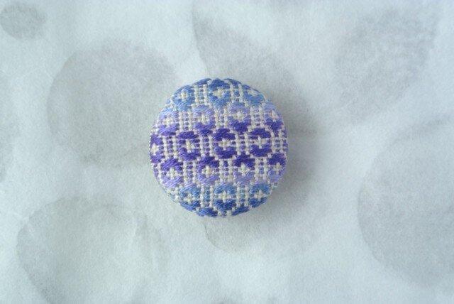 こぎん刺し 帯留め ブルー 丸型の画像1枚目