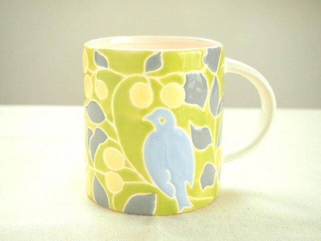 マグカップ(鳥 黄緑色)の画像1枚目