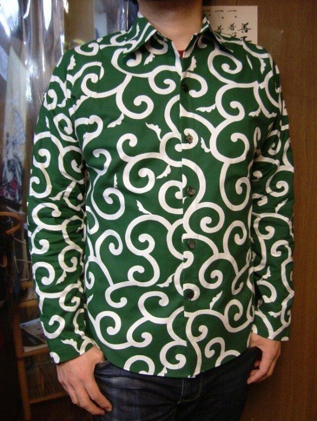 長袖唐草模様シャツ(緑)の画像1枚目
