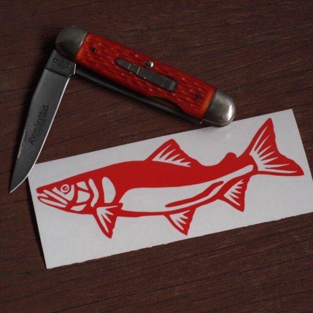 切り絵ステッカー アユ(赤)の画像1枚目